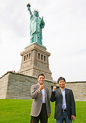 October 1, 2008; New York, NY, USA;  Oscar De La Hoya (l) and Manny Pacquiao (r) pose at the Statue of Liberty announcing their December 6, 2008 fight.  The two fighters will meet at the MGM Grand Garden Arena.