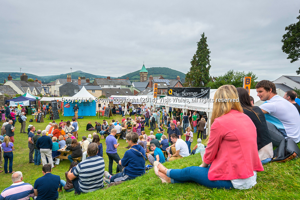 People outside at festival site<br /> Abergavenny Food Festival 2013<br /> Monmouthshire<br /> South<br /> Events