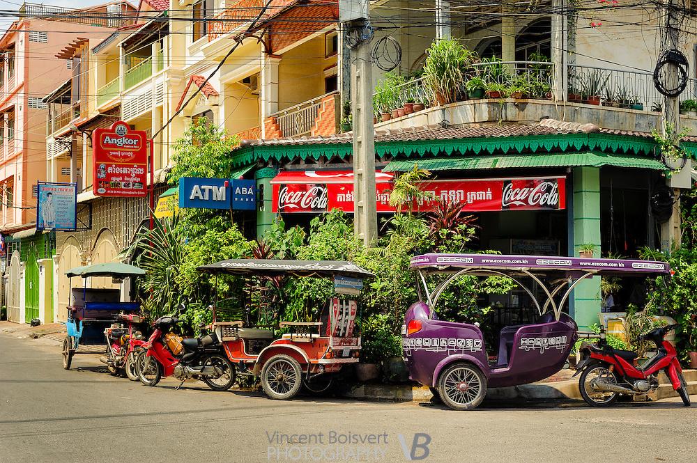 colorful tuk tuk in phnom penh, cambodia