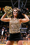 February 21st, 2013 Boulder, CO - A Colorado Cheerleader dances prior to the start of action in the NCAA basketball game between the University of Utah Utes and the University of Colorado Buffaloes at the Coors Events Center in Boulder CO