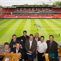 Rosenborg v St Johnstone....18.07.13  UEFA Europa League Qualifier.<br /> Press/Media at Rosenborg's Lerkendal Stadium, from left, Jim Spence, Graeme Hart, Billy Dodds,Gordon Bannerman, Neil Robertson, Robert Thomson, Martin Hawkins and John McGarry<br /> Picture by Graeme Hart.<br /> Copyright Perthshire Picture Agency<br /> Tel: 01738 623350  Mobile: 07990 594431