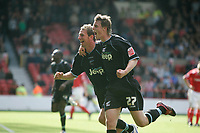Photo: Pete Lorence.<br />Nottingham Forest v Scunthorpe United. Coca Cola League 1. 07/10/2006.<br />Scunthorpe's Ian Baraclough celebrates scoring the third goal of the match with Ian Morris.