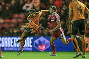 Nathan Byrne (Wolverhampton Wanderers) clears the ball during the Sky Bet Championship match between Middlesbrough and Wolverhampton Wanderers at the Riverside Stadium, Middlesbrough, England on 4 March 2016. Photo by Mark P Doherty.