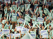 01 NOVEMBER 2019 - DES MOINES, IOWA: People cheer for Elizabeth Warren at the Liberty and Justice Celebration in the Wells Fargo Arena in Des Moines. The Liberty and Justice Celebration is a fund raiser for the Iowa Democratic Party. Many of the Democratic candidates for the US presidency spoke at the 2019 Celebration. Iowa holds the first presidential selection event of the 2020 election cycle. The Iowa Caucuses are Feb. 3, 2020.           PHOTO BY JACK KURTZ