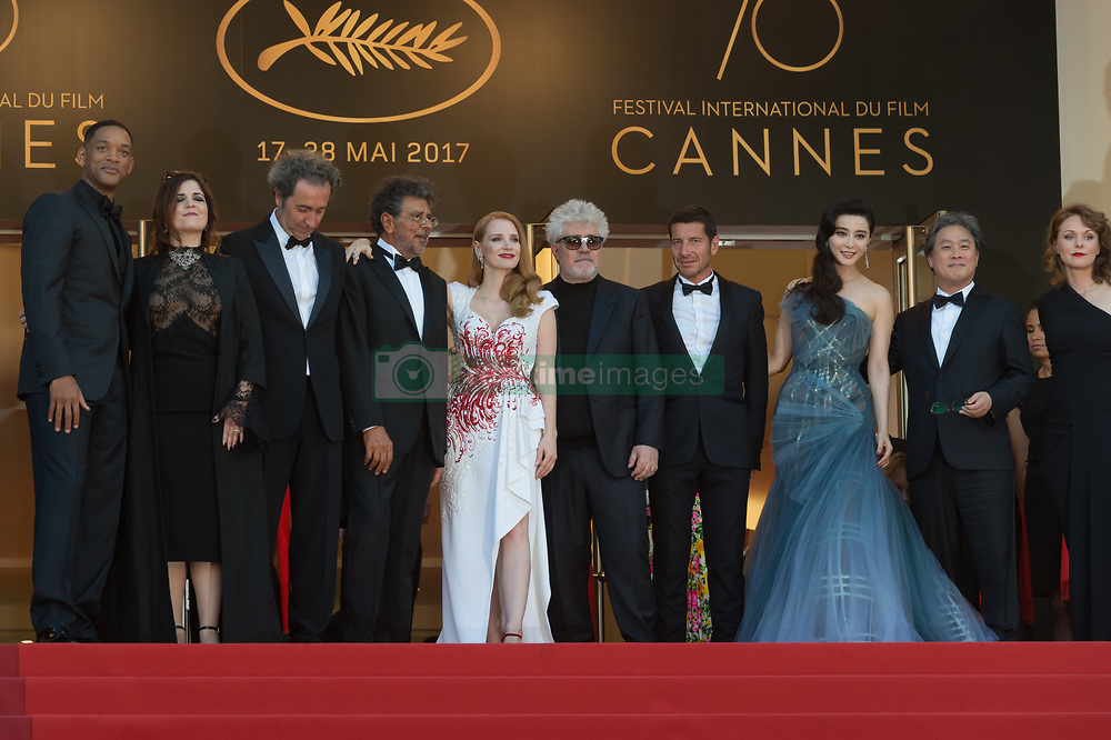 Jury members Will Smith, Agnes Jaoui, Paolo Sorrentino, Gabriel Yared and Jessica Chastain, President of the jury Pedro Almodovar, mayor of Cannes David Lisnard and jury members Fan Bingbing, Park Chan-wook and Maren Ade attending the Closing Ceremony during the 70th annual Cannes Film Festival held at the Palais Des Festivals in Cannes, France on May 28, 2017 as part of the 70th Cannes Film Festival. Photo by Nicolas Genin/ABACAPRESS.COM