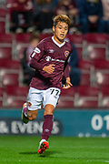 Ryotaro Meshino (#77) of Heart of Midlothian FC during the Betfred Scottish Football League Cup quarter final match between Heart of Midlothian FC and Aberdeen FC at Tynecastle Stadium, Edinburgh, Scotland on 25 September 2019.