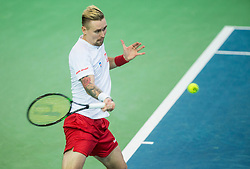 Mateusz Kowalczyk  of Poland playing doubles during the Day 2 of Davis Cup 2018 Europe/Africa zone Group II between Slovenia and Poland, on February 4, 2018 in Arena Lukna, Maribor, Slovenia. Photo by Vid Ponikvar / Sportida
