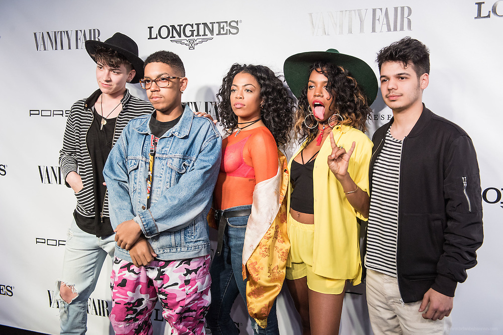 Performers the Skins are seen on the black carpet at the Vanity Fair Derby party at 21c Museum Hotel. May 6, 2016