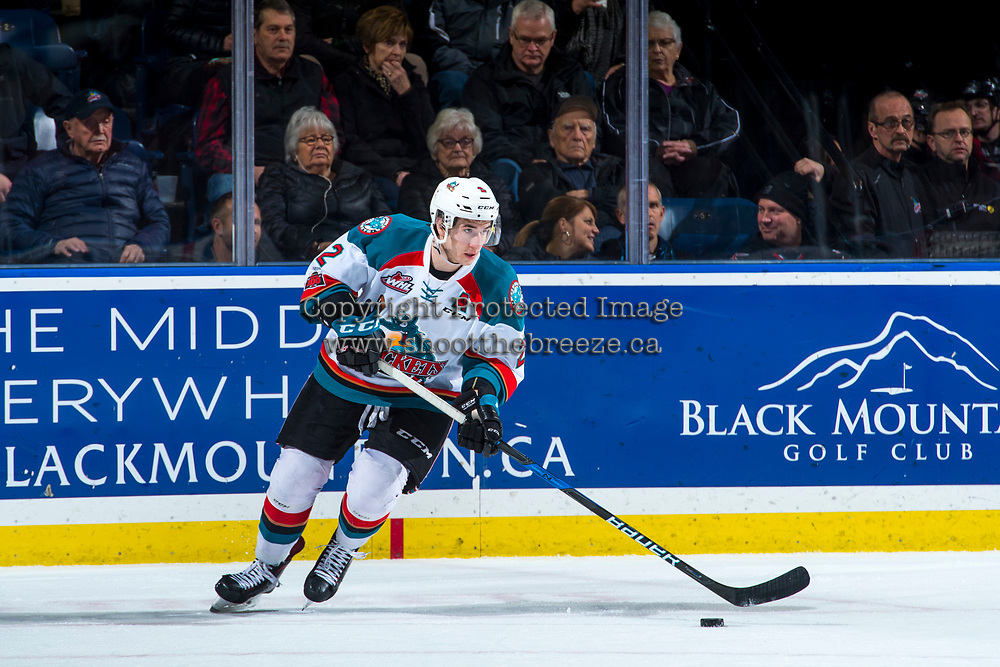 KELOWNA, CANADA - JANUARY 30: James Hilsendager #2 of the Kelowna Rockets skates with the puck against the Medicine Hat Tigers on January 30, 2017 at Prospera Place in Kelowna, British Columbia, Canada.  (Photo by Marissa Baecker/Shoot the Breeze)  *** Local Caption ***