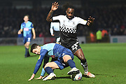 Wycombe Wanderers defender Joe Jacobson (3) battles for possession  with Coventry City defender Fankaty Dabo (23) during the EFL Sky Bet League 1 match between Wycombe Wanderers and Coventry City at Adams Park, High Wycombe, England on 29 December 2019.