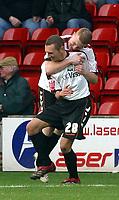 Photo: Dave Linney.<br />Walsall v Barnet. Coca Cola League 2. 24/02/2007.<br />Barnt's Oliver Allen(L) celebrates after making it 1-0 to Barnet.