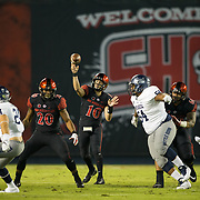 18 November 2017:  The San Diego State football team hosts Nevada Saturday night. San Diego State Aztecs quarterback Christian Chapman (10) drops back to pass in the first quarter. The Aztecs lead 21-14 at the half. <br /> www.sdsuaztecphotos.com
