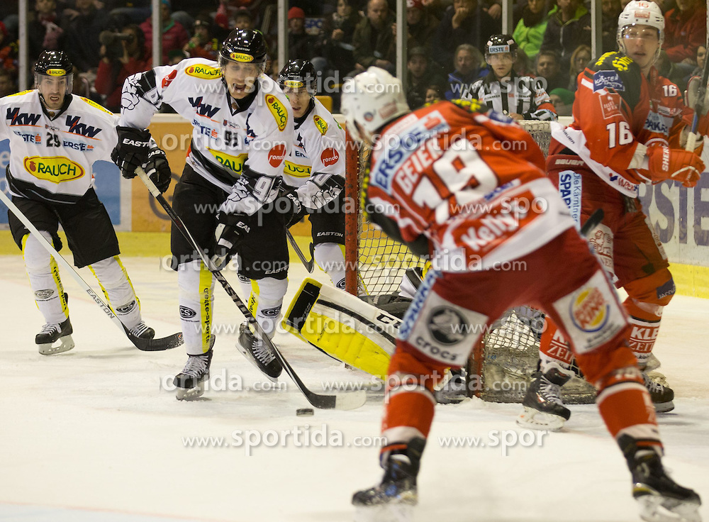 03.03.2015, Stadthalle, Klagenfurt, AUT, EBEL, EC KAC vs Dornbirner Eishockey Club, Qualifikationsrunde, im Bild Luciano Aquino (Dornbirner Eishockey Club, #29), Martin Grabher-Meier (Dornbirner Eishockey Club, #91), Stefan Geier (EC KAC, #19), Patrick Harand (EC KAC, #16), Nathan Lawson (Dornbirner Eishockey Club, #52) // during the Erste Bank Icehockey League qualification round match betweeen EC KAC and Dornbirner Eishockey Club at the City Hall in Klagenfurt, Austria on 2015/03/03. EXPA Pictures © 2015, PhotoCredit: EXPA/ Gert Steinthaler