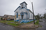 August 29th, New Orleans, Louisiana, Hurricane Isaac hits the city with wind and rain as a category one storm. Church being renovated on Hickory St. Uptown damaged during Isaac.