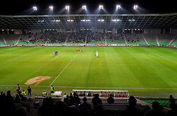 Players of Olimpija and Gorica in silence in honor of rider Jure Robic during the football match between NK Olimpija and HIT Gorica, played in the 11th Round of Prva liga football league 2010 - 2011, on September 25, 2010, SRC Stozice, Ljubljana, Slovenia. (Photo by Vid Ponikvar / Sportida)