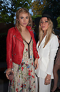 SUKI WATERHOUSE; JAZZY DE LISSER;, Serpentine Summer party 2012 sponsored by Leon Max. Pavilion designed by Herzog & de Meuron and Ai Weiwei. Kensington Gardens. London. 26 June 2012.