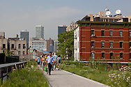 New York the new park on the high line, in  Chelsea , The High Line is a 1.45-mile (2.33 km) section of the former elevated freight railroad of the West Side Line, along the lower west side of Manhattan, which has been redesigned and planted as a greenway.