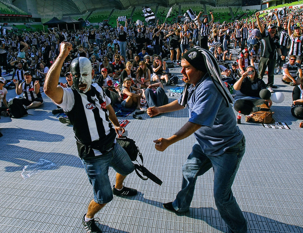 AFL Grand Final Replay, AAMI Park,  Collingwood fans react as their team beat St Kilda  - Pic By Craig Sillitoe 02/09/2010 SPECIAL 000 melbourne photographers, commercial photographers, industrial photographers, corporate photographer, architectural photographers, This photograph can be used for non commercial uses with attribution. Credit: Craig Sillitoe Photography / http://www.csillitoe.com<br />