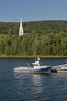 Fishing boat and chuch steeple, Cape Breton Island, Nova Scotia