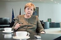 13 SEP 2017, BERLIN/GERMANY:<br /> Angela Merkel, CDU, Bundeskanzlerin, waehrend einem Interview, in Ihrem Buero, Bundeskanzlerin<br /> IMAGE: 20170917-01-004<br /> KEYWORDS: B&uuml;ro