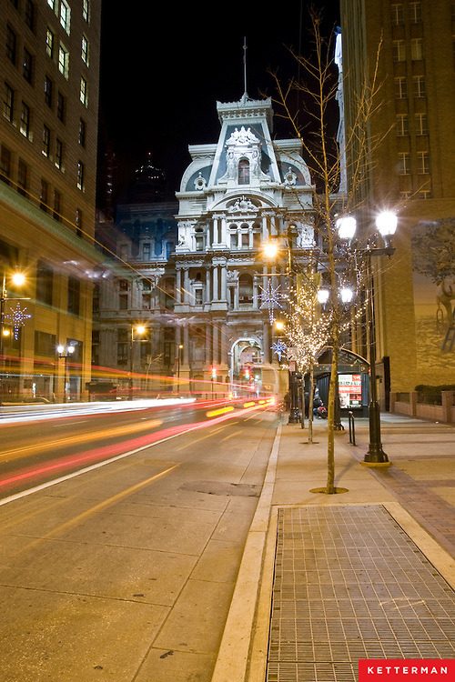 A view of City Hall in downtown Philadelphia on a cold winter night.