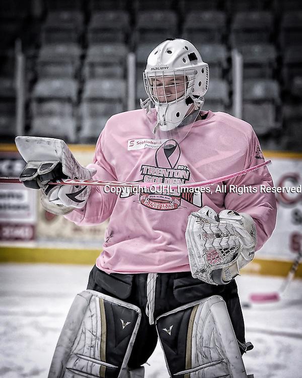 TRENTON, ON - Feb 14 : Ontario Junior Hockey League game action between the Trenton Golden Hawks and the Wellington Dukes, Connor Hughes #1 of the Trenton Golden Hawks Hockey Club<br /> (Photo by Amy Deroche / OJHL Images)
