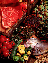 Raw foods for cooks cooking preperation Cuisine steak raw fish tomato tomatoe squash