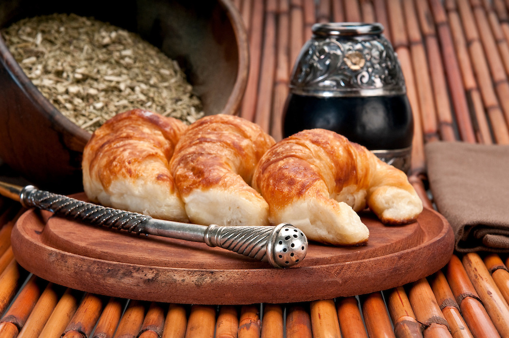 Yerba Mate and Croissants, this is a typical drink and breakfast in Argentine. Use of selective focus.