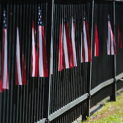 American flags are seen lining E. Moore Street during the North Carolina 4th of July Festival Parade Friday July 4, 2014 in Southport, N.C.