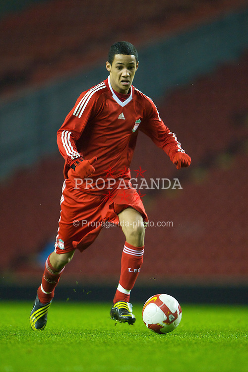 LIVERPOOL, ENGLAND - Thursday, February 5, 2009: Liverpool's Thomas Ince in action against Chelsea during the FA Youth Cup 5th Round match at Anfield. (Mandatory credit: David Rawcliffe/Propaganda)