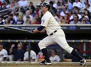MINNEAPOLIS - SEPTEMBER 04:  Jim Thome #25 of the Minnesota Twins hits his second home run of the game in the fourth inning against the Texas Rangers on September 4, 2010 at Target Field in Minneapolis, Minnesota.  The Twins defeated the Rangers 12-4. (Photo by Ron Vesely)