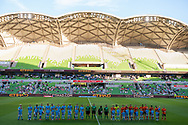 MELBOURNE, VIC - JANUARY 11: A general view as players line up prior to the match at the Hyundai A-League Round 13 soccer match between Melbourne City FC and Brisbane Roar FC at AAMI Park in VIC, Australia 11th January 2019. (Photo by Speed Media/Icon Sportswire)