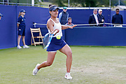 Veronica Cepede Royg of Paraguay plays a forehand during the Women's Singles Quarter Final at the Fuzion 100 Ilkley Lawn Tennis Trophy Tournament held at Ilkley Lawn Tennis and Squad Club, Ilkley, United Kingdom on 19 June 2019.