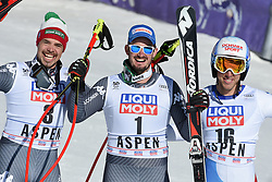 15.03.2017, Aspen, USA, FIS Weltcup Ski Alpin, Finale 2017, Abfahrt, Herren, Siegerpräsentation, im Bild v.l. Peter Fill (ITA, 2. Platz und Abfahrts-Weltcupsieger), Dominik Paris (ITA, 1. Platz und 3. Platz Abfahrts-Weltcup), Carlo Janka (SUI, 3. Platz) // f.l. second placed and Downhill World Cup winner Peter Fill of Italy, race winner and Downhill World Cup third placed Dominik Paris of Italy and third placed Carlo Janka of Switzerland during the winner presentation for men's downhill of 2017 FIS ski alpine world cup finals. Aspen, United Staates on 2017/03/15. EXPA Pictures © 2017, PhotoCredit: EXPA/ Erich Spiess