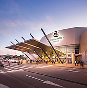 Horncastle Arena. People leaving at sunset after a concert. Christchurch, New Zealand.