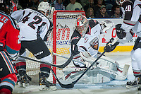 KELOWNA, CANADA - OCTOBER 1: Payton Lee #1 of Vancouver Giants makes a save against the Kelowna Rockets on October 1, 2014 at Prospera Place in Kelowna, British Columbia, Canada.   (Photo by Marissa Baecker/Shoot the Breeze)  *** Local Caption *** Payton Lee;