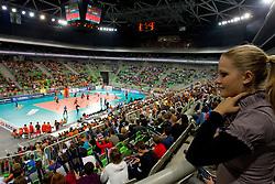 Arena Triglav during volleyball match between ACH Volley LJUBLJANA and Budvanska Rivijera BUDVA.of 2012 CEV Volleyball Champions League, Men, League Round in Pool F, 2nd Leg, on October 26, 2011, in Arena Stozice, Ljubljana, Slovenia.  (Photo by Vid Ponikvar / Sportida)