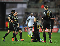 Manchester City's Aleksandar Kolarov celebrates with team. - Photo mandatory by-line: Alex James/JMP - Tel: Mobile: 07966 386802 01/01/2014 - SPORT - FOOTBALL - Liberty Stadium - Swansea - Swansea City v Manchester City - Barclays Premier League