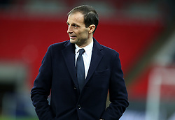Juventus coach Massimiliano Allegri on the pitch before the press conference at Wembley Stadium, London.