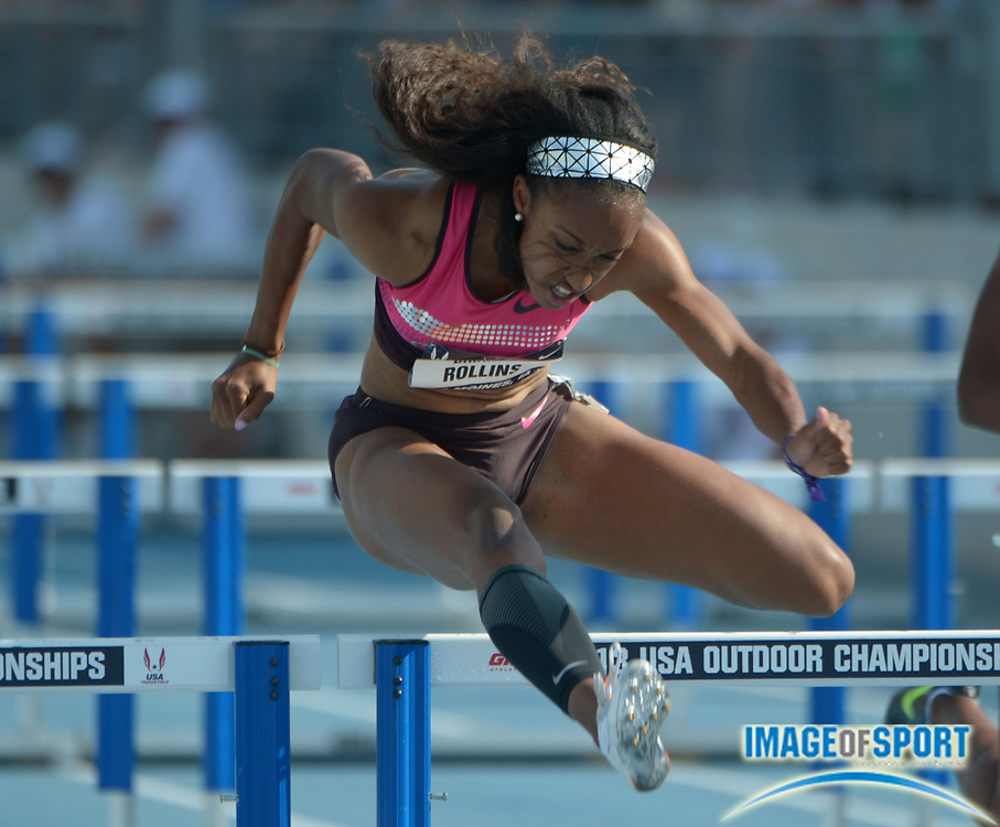 Jun 21, 2013; Des Moines, IA, USA; Brianna Rollins wins a womens 100m hurdles heat in a wind-aided 12.33 in the 2013 USA Championships at Drake Stadium.