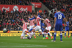 Marcos Alonso of Chelsea (C) has a shot at goal - Mandatory by-line: Jack Phillips/JMP - 18/03/2017 - FOOTBALL - Bet365 Stadium - Stoke-on-Trent, England - Stoke City v Chelsea - Premier League