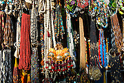 Traditional necklaces and beads on sale at street stall in Varanasi, Benares, Northern India