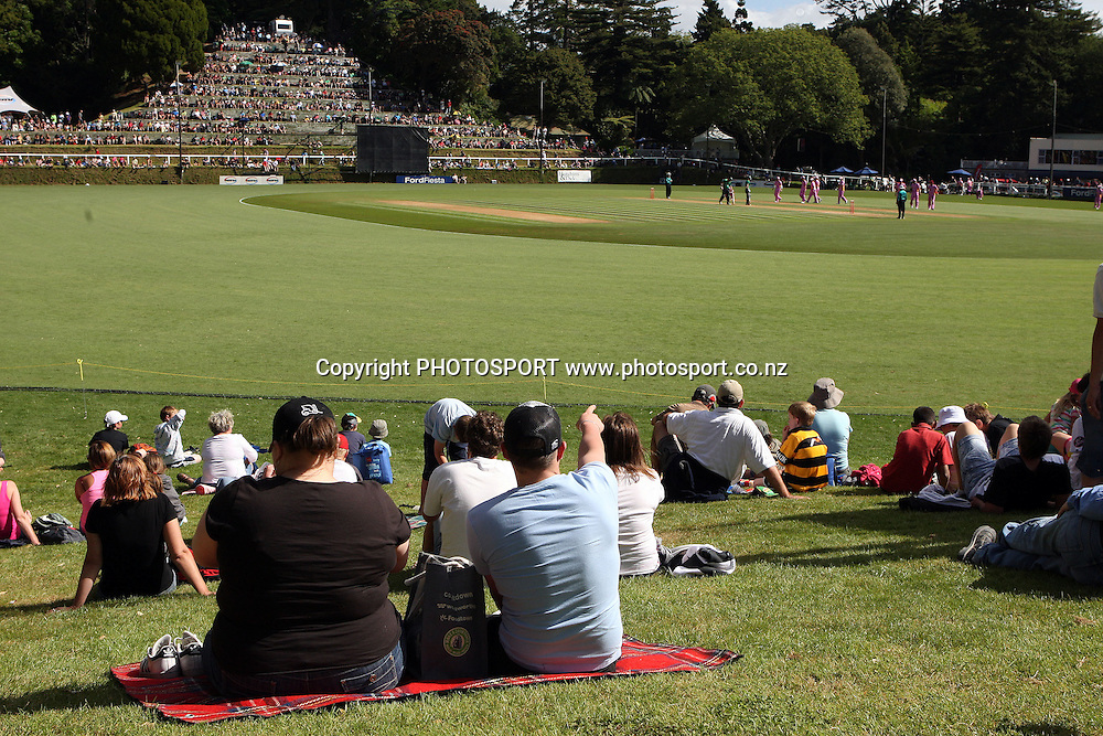 Fans watch the action, HRV Cup, Twenty20 cricket, Central Stags v Northern Knights. Pukekura Park, New Plymouth. 8 January 2010. Photo: William Booth/PHOTOSPORT