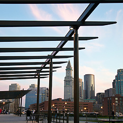 Rose Fitzgerald Kennedy Greenway at dusk, sitting area with pergola at the North End public park. Boston, Massachusetts USA.North End Parks designed by Crosby, Schlessinger, Smallridge LLC and Gustafson Guthrie Nichol Ltd.