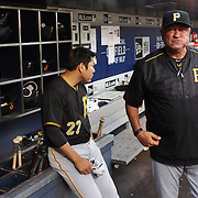 NEW YORK, NEW YORK - June 15: Manager Clint Hurdle #13 of the Pittsburgh Pirates in the dugout during the Pittsburgh Pirates Vs New York Mets regular season MLB game at Citi Field on June 15, 2016 in New York City. (Photo by Tim Clayton/Corbis via Getty Images)