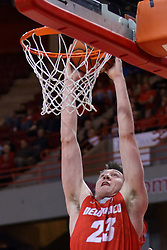 03 December 2016: Joe Furstinger stuffs  during an NCAA  mens basketball game between the New Mexico Lobos the Illinois State Redbirds in a non-conference game at Redbird Arena, Normal IL