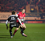 Scarlets' Hadleigh Parkes under pressure from Toulon's Hugo Bonneval<br /> <br /> Photographer Simon King/Replay Images<br /> <br /> European Rugby Champions Cup Round 6 - Scarlets v Toulon - Saturday 20th January 2018 - Parc Y Scarlets - Llanelli<br /> <br /> World Copyright © Replay Images . All rights reserved. info@replayimages.co.uk - http://replayimages.co.uk