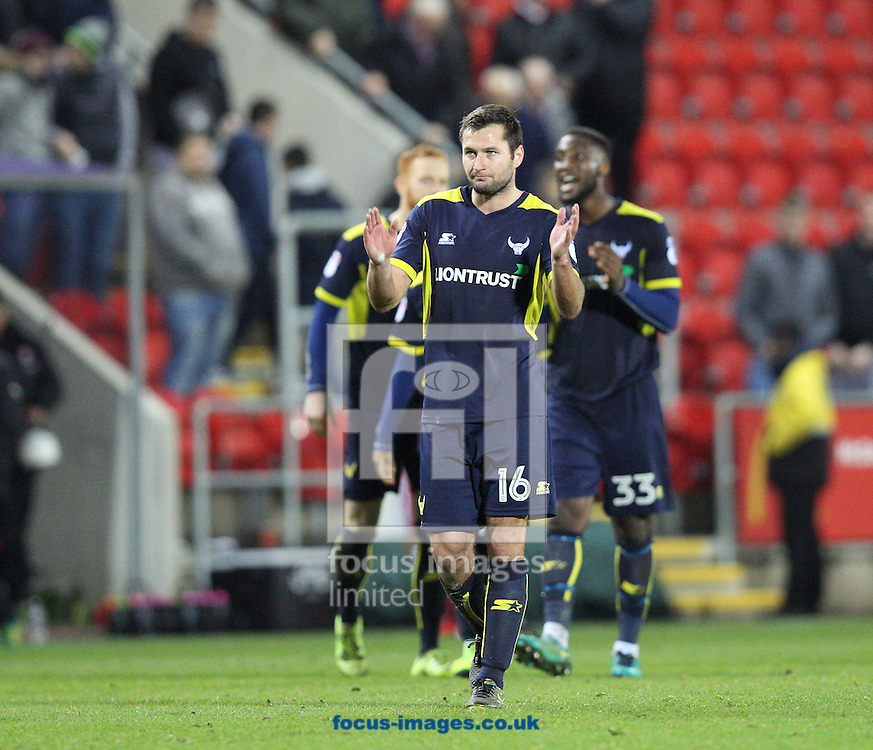 Phil Edwards of Oxford United leads his teams applause of the fans after the third round of the FA Cup at the New York Stadium, Rotherham<br /> Picture by James Wilson/Focus Images Ltd 07709 548263<br /> 07/01/2017