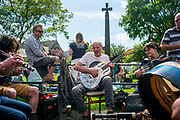 UNITED KINGDOM, Northumberland: 16 July 2017 Respected poet and musician Andrew Charlton leads the music during a jam session at the Rothbury Traditional Music Festival. The annual event, held in the small village of Rothbury in Northumberland, focusses on the traditional history and local folk music of the Coquetdale region.<br /> Rick Findler / Story Picture Agency