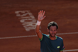 May 4, 2018 - Estoril, Portugal - Joao Sousa of Portugal celebrates his victory over Kyle Edmund of Great Britain during the Millennium Estoril Open ATP 250 tennis tournament quarterfinals, at the Clube de Tenis do Estoril in Estoril, Portugal on May 4, 2018. (Credit Image: © Pedro Fiuza via ZUMA Wire)